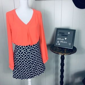 Banana Republic hot coral blouse